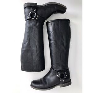 Frye Black Philip Harness Tall Riding Boots